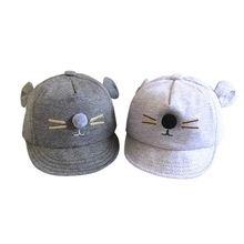 Toddler Cute Cat Baby Character Hat Cotton Baby Boys Girls Cap Adjustable Cap Snapback Little Ear Cap Warm Hat Dark/Light Gray