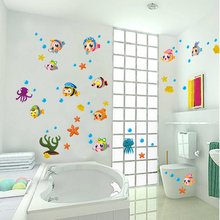 Fish Bathroom Wall Sticker Waterproof Home Decor Pool Wall Decal Toilet Mural for Baby Kids Room House Vinyl AY652