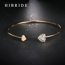 HIBRIDE Rose Gold Color Open Cuff Bracelet For Women Romantic Heart Love Bracelets Trendy Cheap Price Metal Bangle B-34