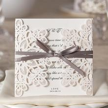 30pcs/Lot  Lace Silver  Bowknot wedding invitations Card Vintage Laser cut White Hollow Flower Blank Inside with Envelope Ideas