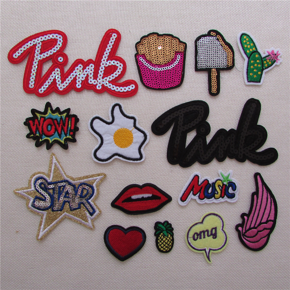 14 kind mixture patch hot melt adhesive patches stripes fashion pattern applique embroidery DIY clothing accessory C793-C808
