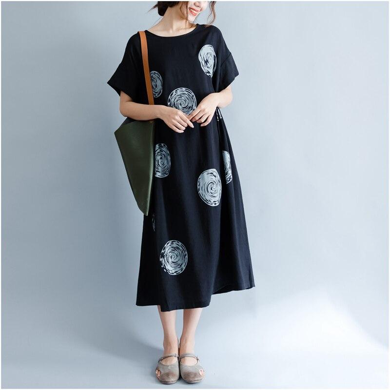DIMANAF Women Summer Dress Big Size Cotton Linen Casual Soft Style Black Polka Dot Oversized Loose Female Sundress Clothing 2018 16