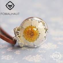 Hot FOMALHAUT Crystal glass bottles daisy Necklace Long Strip Leather Chain Pendant Necklaces Women 2015 Jewelry CX-138