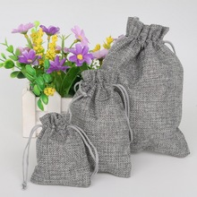 Gray 5pcs Cotton Linen Drawstring Wedding Jewelry Decorative Bags Christmas/Wedding Gift Bags Pouch Product Packaging Bags