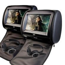 9 Inch Car Headrest Video Player Dual Screen DVD Player Support USB/SD/IR/FM Transmitter/32 Bit Games+Free 2 PCS IR Headphones+W(China)