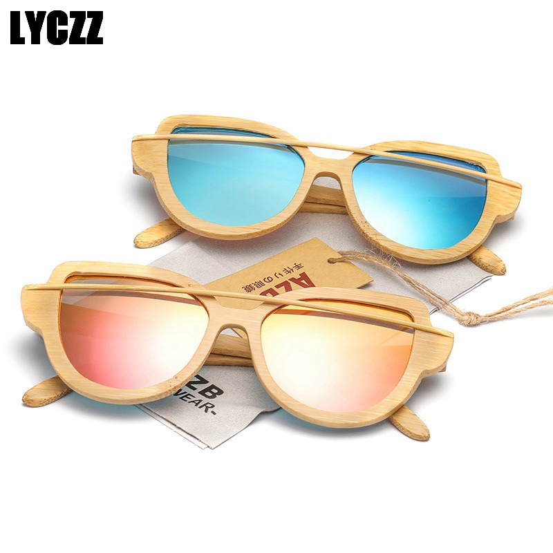 LYCZZ Brand Design Europe Retro Bamboo Wood Sunglasses Women Polarized Lens UV400 Coating Mirror Ladies Shades gafas de sol