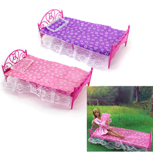 SUN & CLOUD 1 Set Single Bed for Barbies Dollhouse Furniture & Pillow Bed Sheet Color Random