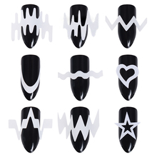 6 or 12 Sheets French Edge Tip Guides White Star Heart Nail Art Wave Line DIY Stencil Transfer Sticker Decoration Styling Tool