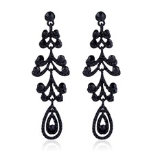 Vintage Crystal Chandelier Long Earrings Black Color Rhinestone Big Dangle Earrings For Women Fashion Jewelry Gift(China)