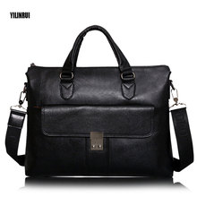 YILINRUI Genuine leather men briefcare brand high quality men's business handbags real leather soft men laptop bag Traveling bag