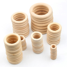 Unfinished Wooden Teethers 15-100mm Round circle wood bijtring diy Baby Teether Wood Baby Toys