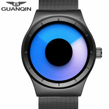 GUANQIN Personality Watch Top Brand Quartz Watch Men Stainless Steel Mesh Band Unique Men Watch High Quality Clock Men