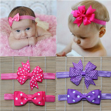 cute baby accessories dots hairband infant girls elastic hair elastic bands ribbon head wraps bows tiara flower headbands satin*