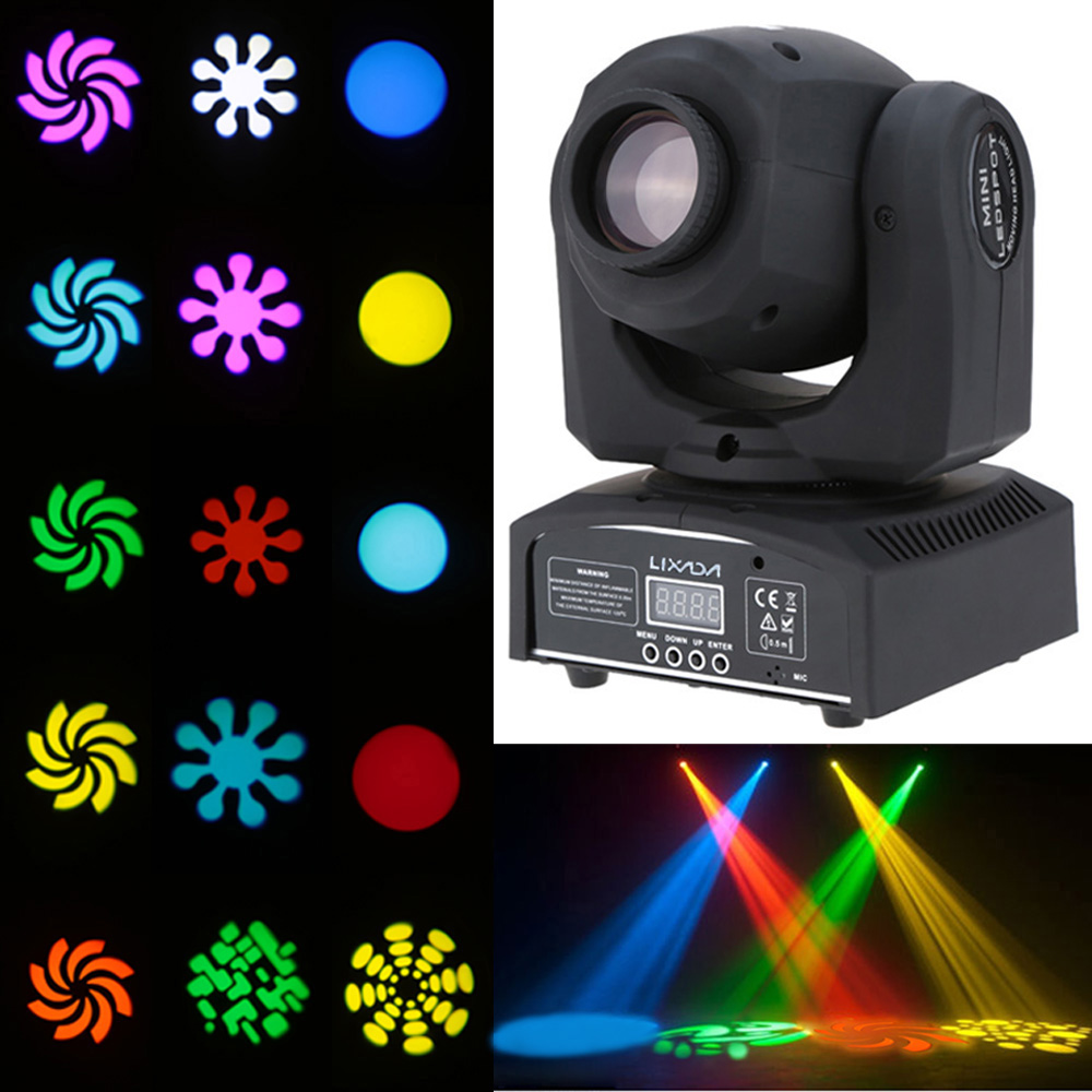 8Colors Party Lights 25W DJ Stage Light DMX 512 Mini Moving Head Light LED  Stage Light with Shapes Automatic 9/11 Channel Disco|Stage Lighting Effect|  - AliExpress