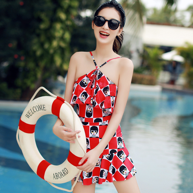 Cheap Sexy Bathing Suits May Beach Girls Womens Swim Suit Wear One-Piece Swimsuit 2017 Girl Ladies New Skirt Underwire Push<br>