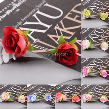 6Pcs/lot Wedding Bridal Rose Flower Hairpins Hairsticks Hair Accessories Women Rose Flower Hair Pins Hair Clips Wholesale Lot