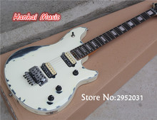 Free Shipping-Hot Sale Electric Guitar,Floyd Rose,White Color in Old Style,Mahogany Neck,2 Open Humbuckering Pickups,can Custom