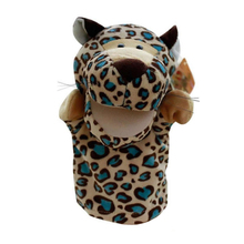 Cute Plush Velour Animals Hand Puppets Chic Designs Kid Child Learning Aid Toy (Leopard) Gold(China)