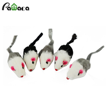 Cute Funny Furry Mouse Toy For Cat Pets Mini Playing Mice Colorful Toys With Real Rabbit Fur For Kitten Cats Pets(China)