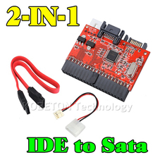 wholesale 20pcs 2in1 SATA to IDE Adapter IDE to SATA Converter 40pin 2.5inch Hard Disk Driver Support for ATA 133 100 HDD CD DVD