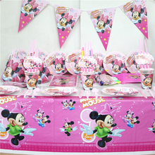 101pcs/lot baby music note minnie mouse pink theme luxury birthday party tablecloth flags napkins decoration bags set supplies