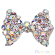 10 Pcs DIY 3D Alloy Rhinestone bow tie Nail Art tip Glitter Decoration 031P 4APW(China)