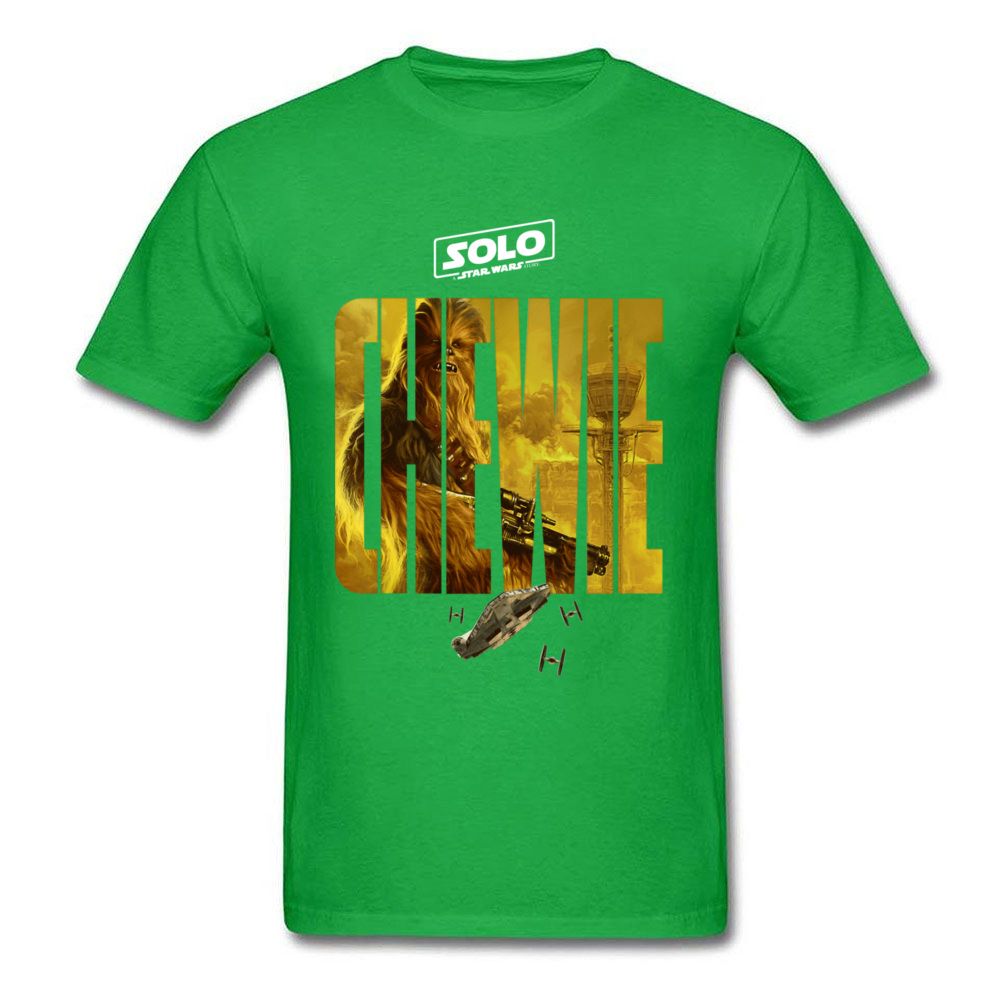100% Cotton Fabric Men Short Sleeve Star War Chewie Poster T Shirts Casual Tops Tees Funny Street Crew Neck Tee Shirts Chewie Poster green