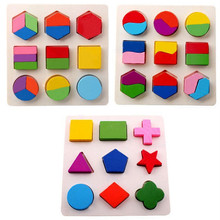 Baby Kids Wooden Puzzle Geometric Shapes Learning Educational Toy 3D Geometry Puzzles Montessori Toys Wooden Puzzle Toys(China)