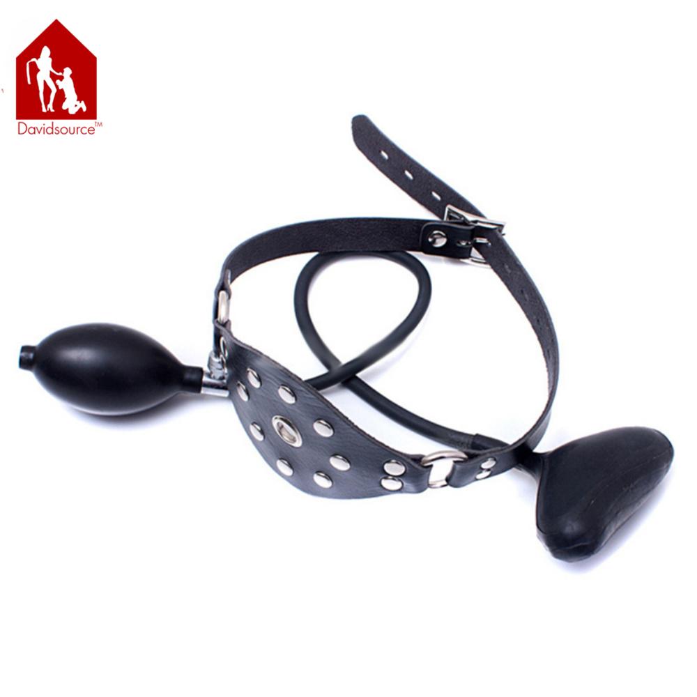Davidsource Inflatable Mouth Gag Black Adjustable Lockable Belts Submissive Slave Training Bondage Restraint Kit Sex Toy 3