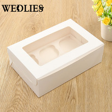 Muffin Cupcake Box 6 Holes Paper Bakery Packing Case with Transparent Window Wedding Party Container Baby Shower Party Supplies
