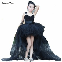 Train Tail Girls Black Tutu Dress Baby Bridesmaid Flower Girl Wedding Dress Tulle Ball Gown Kids Halloween Evening Party Dresses(China)