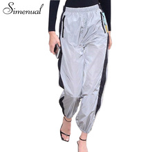 Simenual Athleisure sportswear high waist pants female 2018 zipper patchwork straight sweatpants casual trousers for women sale(China)
