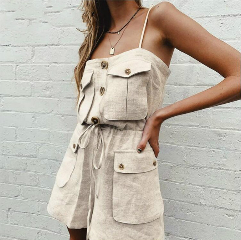 Vintage casual strap women summer romper Pockets sexy short female jumpsuit Loose solid overall cargo jumpsuits 2019