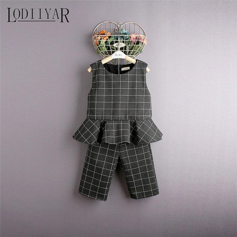 Children Plaid O-Neck Sleeveless Vest + Wide Leg Pants Autumn Winter Kids Clothing Set Girls Blouses Pants<br><br>Aliexpress