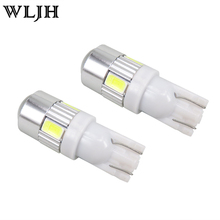 WLJH 2x Bright White T10 LED W5W High Power 6 5630 SMD 5630 168 194 2825 Bulbs Led Lamp Car Parking Light License Position Light(China)