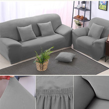 Print Solid Stretch Sectional Sofa Covers For Single /Two /Three  Seats Soft Flannel Slipcovers Elastic Couch Cover
