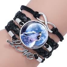 NingXiang Popular Black Color Gothic Wolf Moon Glass Dome Charm Bracelet Bangle Jewelry Love Boy Men Handmade Sirius Accessories(China)