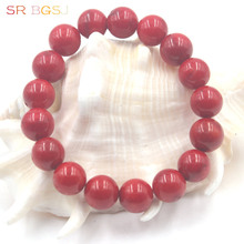"Free Shipping 6 8 10 12mm Round Natural Red Coral Gems Stone Handmade Stretchy Jewelry Bracelet 7"" 7.5"" 8""(China)"