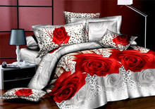 2016 new  warm Leopard flower rose 3D textile bedding a family of four 100% cotton bed set bedding bedline  sheet queen size