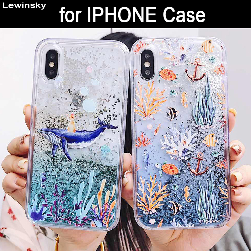 Cute Cartoon Whale Liquid Quicksand Glitter Case For iphone 7 8 plus Cover for iphone 6 6s X 10 XR XS Max Coral Fish Coque Funda
