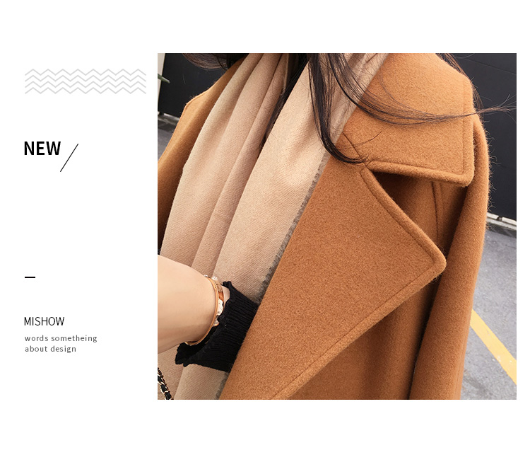 Mishow 19 autumn and winter woolen coat female Mid-Long New Korean temperament women's popular woolen coat MX17D9636 26