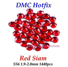 DMC Red Siam SS6 1.9-2.0mm 1440pcs Glass Crystals Hotfix Rhinestone Iron-on Rhinestones Shiny DIY Garment Bag With Glue
