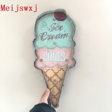 Meijswxj Vintage Home Decor Ice cream LED Neon Sign Shabby chic Brass knuckles weapon Bar Cafe Restaurant wall hangings signs