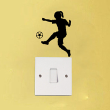 Girl Soccer Player Fashion Bedroom Vinyl Wall Decal Light Swtich Sticker 6SS0251