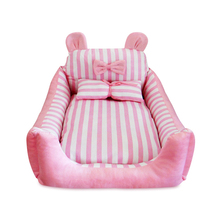 Cute Butterfly Animal Detachable Pet Bed Pink Blue Teddy Pet Dog Sofa Pet Cat Bed House Big Blanket Cushion Bask With Pillow(China)