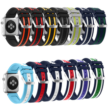 High quality Bracelet Silicone Sports Band for Apple Watch Strap 38mm 42mm watch band for iwatch Series 1 Series 2 Series 3(China)