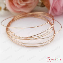 2 Meters 0.4MM 0.5MM 0.6MM 0.7MM 0.8MM 24K Champagne Gold Color Brass Make Shape Metal Wire High Quality Jewelry Accessories(China)