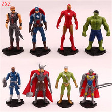8 styles Super hero avengers Iron man Loki hulk thor light Captain Justice league Action Figure kids toy gift Collection decor