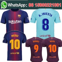 Free shipping camisetas de futbol 453 Barcelonaing men messi Soccer jersey best quality 2017 2018 football jersey(China)