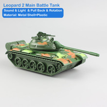 Mini Scale children's Leopard 2 Main Battle Tank pull back sound light rotaion metal diecast model auto cars toys for kids boys